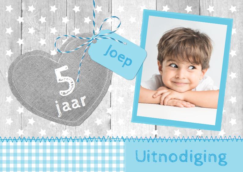 Kinderfeestjes - Uitnodiging Hout Linnen Hart B