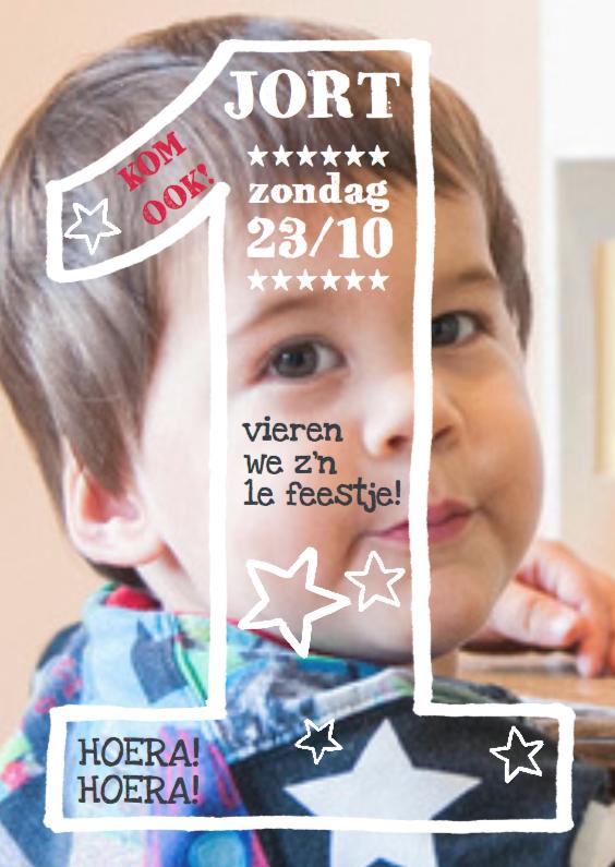 Kinderfeestjes - Uitnodiging jongen 1 jaar