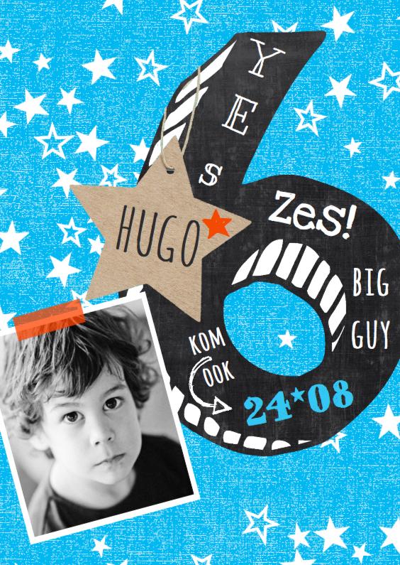 Kinderfeestjes - Uitnodiging jongen 6 krijtbord
