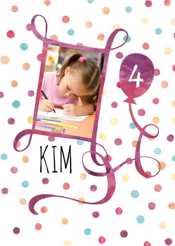Kinderfeestjes - Uitnodiging kind paarse ballon
