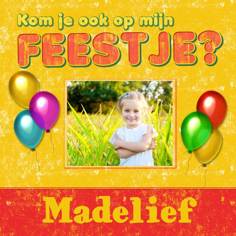 Kinderfeestjes - uitnodiging kinderfeest ballon
