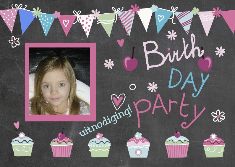 Kinderfeestjes - uitnodiging kinderfeest cupcakes