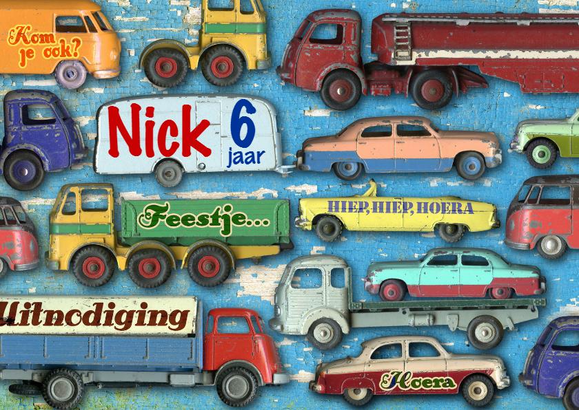 Kinderfeestjes - uitnodiging kinderfeest mannenkaart auto