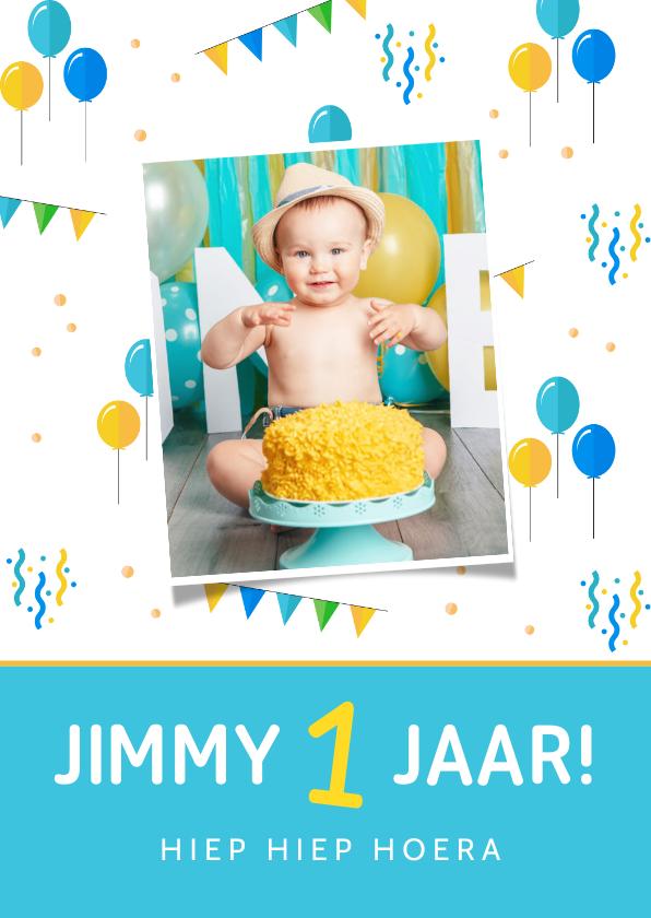 Kinderfeestjes - Uitnodiging kinderfeestje 1 jaar jongen feestelijk foto