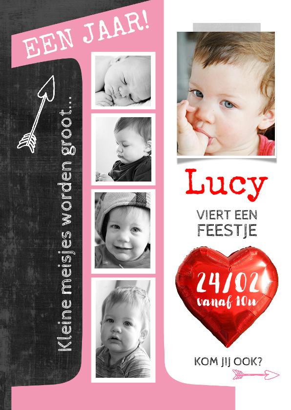 Kinderfeestjes - Uitnodiging kinderfeestje 1 jaar Lucy