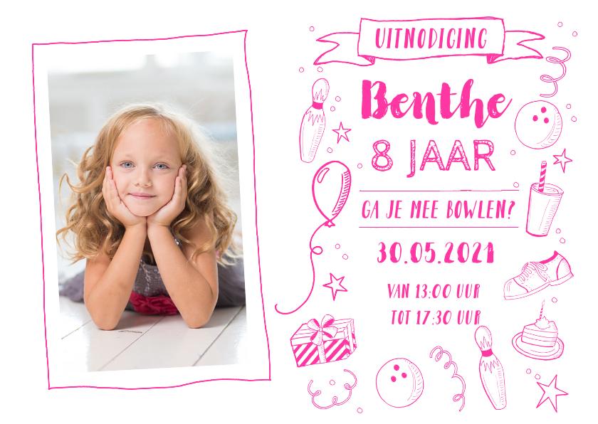 Kinderfeestjes - Uitnodiging kinderfeestje bowlen foto roze