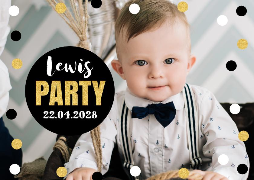 Kinderfeestjes - Uitnodiging kinderfeestje foto confetti jongen
