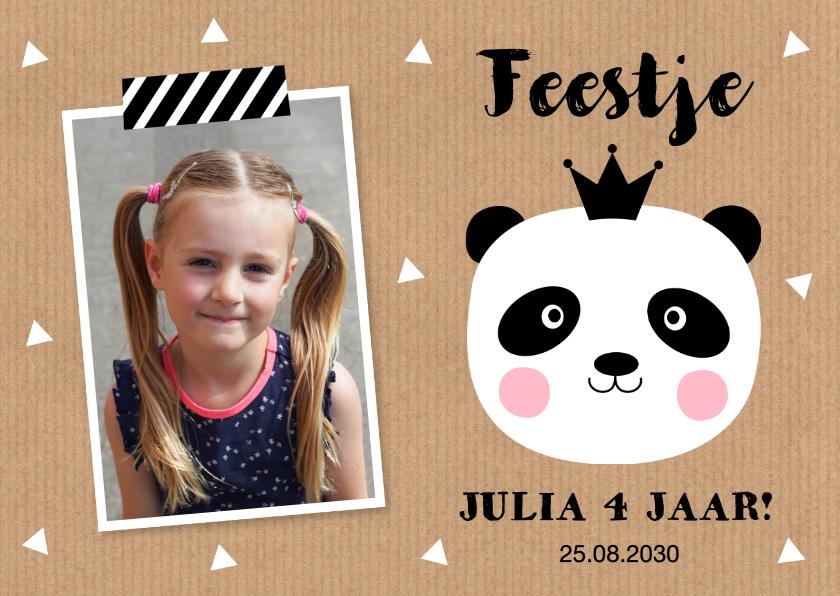 Kinderfeestjes - Uitnodiging kinderfeestje foto panda kraft meisje