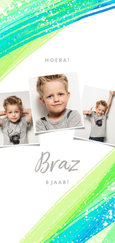 Kinderfeestjes - Uitnodiging kinderfeestje foto's & groene verfstrepen