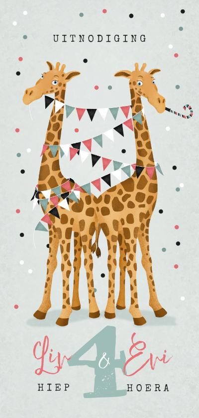 Kinderfeestjes - Uitnodiging kinderfeestje giraf tweeling confetti ballonnen