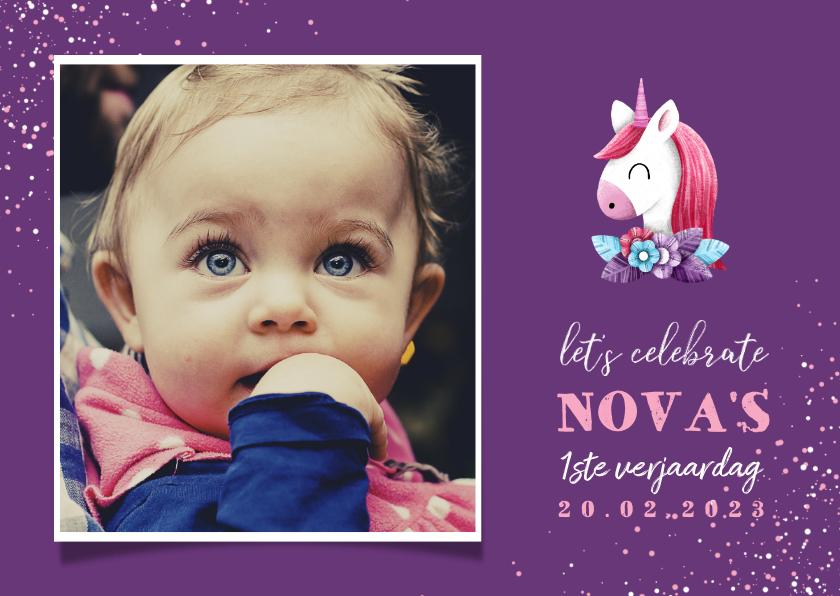 Kinderfeestjes - Uitnodiging kinderfeestje grote foto met unicorn en confetti