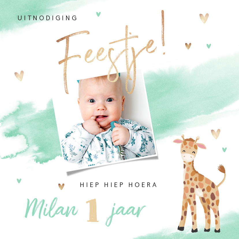 Nieuw Uitnodiging kinderfeestje jongen 1 jaar giraf | Kaartje2go RW-28