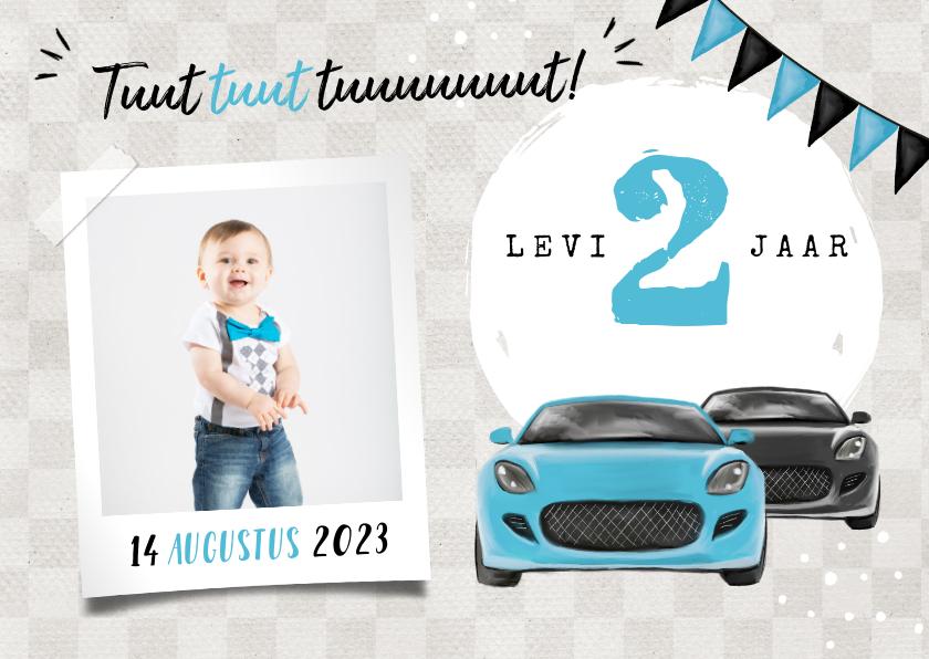 Kinderfeestjes - Uitnodiging kinderfeestje jongen 2 jaar auto's blauw foto