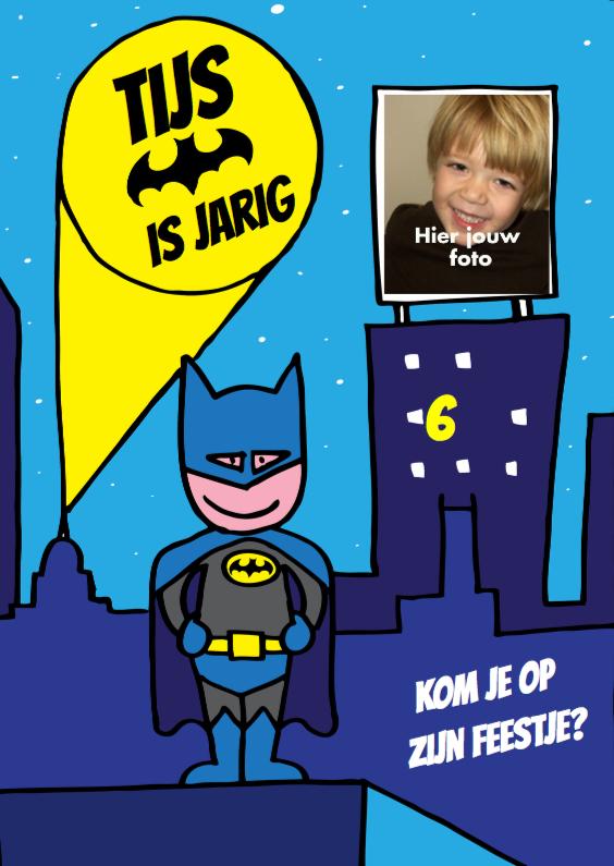 Kinderfeestjes - uitnodiging Kinderfeestje jongen batman