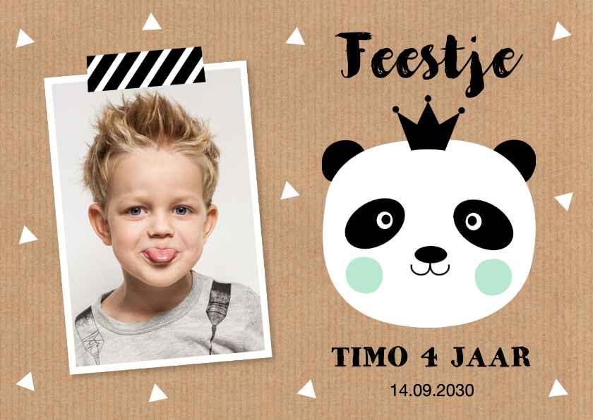 Kinderfeestjes - Uitnodiging kinderfeestje jongen foto panda