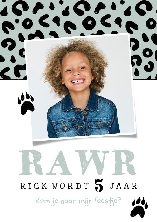 Kinderfeestjes - Uitnodiging kinderfeestje jongen luipaard panter dieren