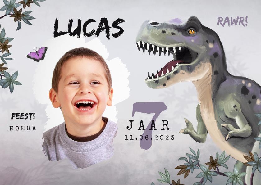 Kinderfeestjes - Uitnodiging kinderfeestje jongen t-rex dino jungle