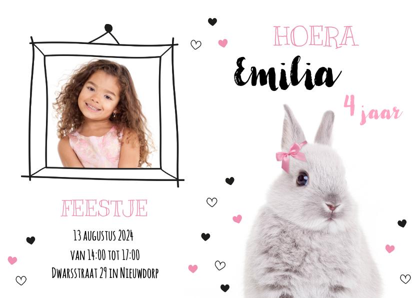 Kinderfeestjes - Uitnodiging - Kinderfeestje - Konijntje met roze strikje