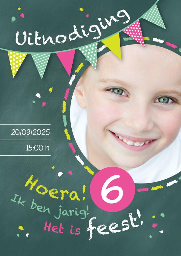 Kinderfeestjes - Uitnodiging kinderfeestje kriijtbord roze