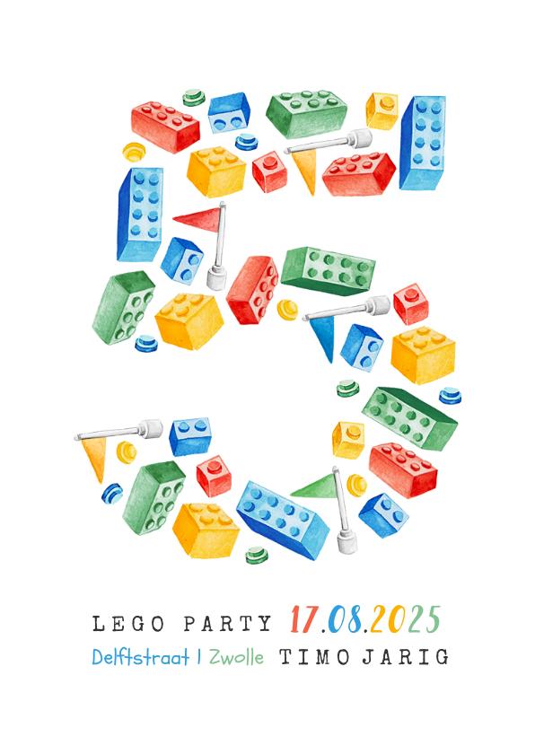 Kinderfeestjes - Uitnodiging kinderfeestje lego 5 jaar blokjes bouwen