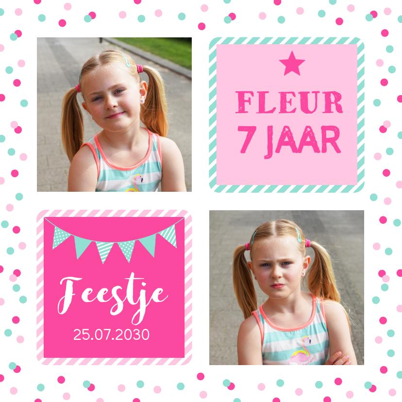 Kinderfeestjes - Uitnodiging kinderfeestje meisje confetti roze vakken