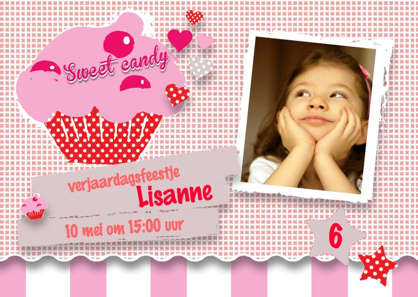 Uitnodiging Kinderfeestje meisje Cupcake 1