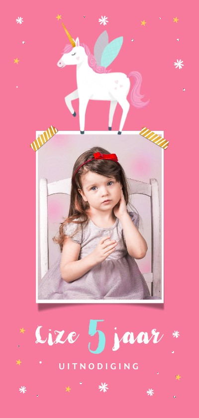 Kinderfeestjes - Uitnodiging kinderfeestje meisje eenhoorn met eigen foto