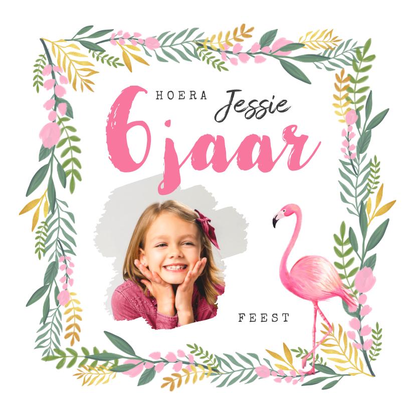 Kinderfeestjes - Uitnodiging kinderfeestje meisje flamingo tropisch