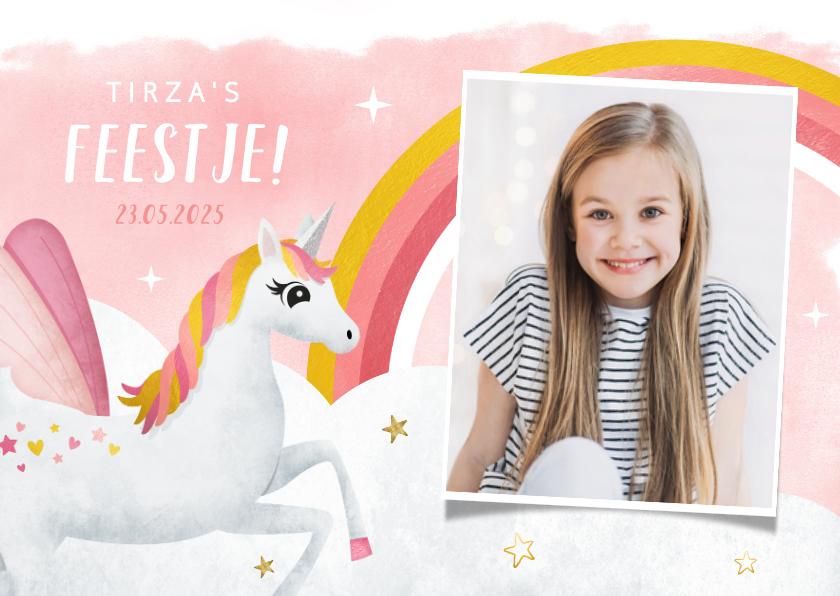 Kinderfeestjes - Uitnodiging kinderfeestje meisje met eenhoorn en regenboog