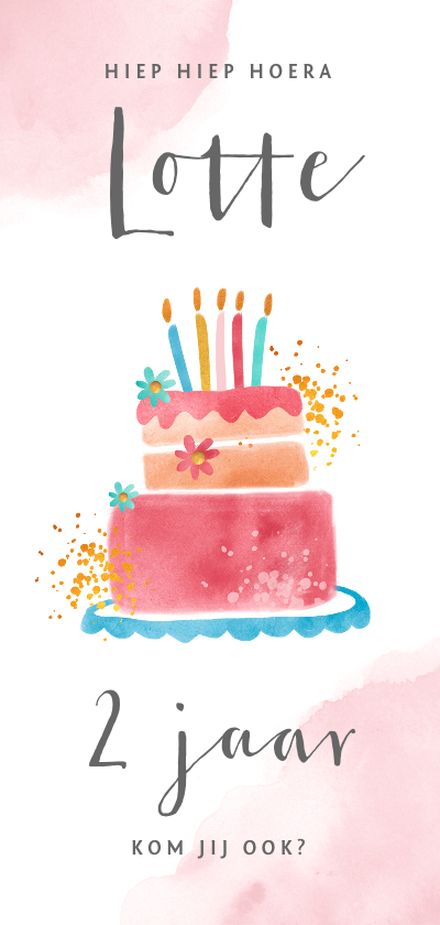 Kinderfeestjes - Uitnodiging kinderfeestje meisje met grote taart