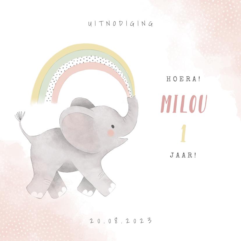 Kinderfeestjes - Uitnodiging kinderfeestje meisje met olifantje en regenboog