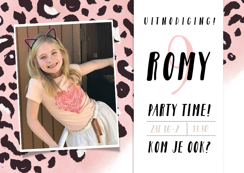 Kinderfeestjes - Uitnodiging kinderfeestje meisje met roze panterprint + foto