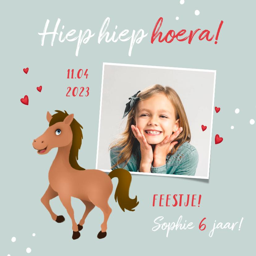 Kinderfeestjes - Uitnodiging kinderfeestje meisje paard hartjes