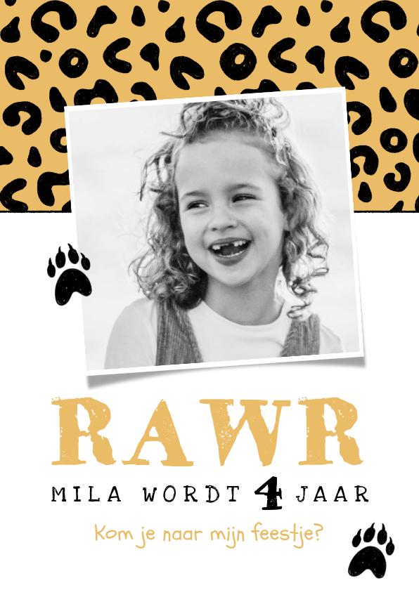 Kinderfeestjes - Uitnodiging kinderfeestje meisje panter luipaard roze jungle