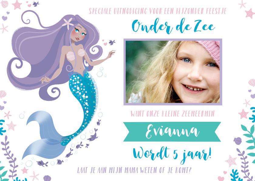 Kinderfeestjes - Uitnodiging kinderfeestje meisje zeemeermin zwemmen