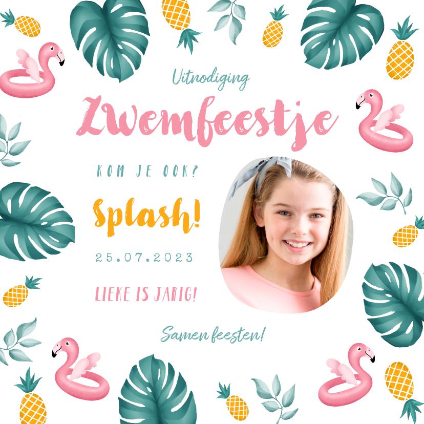 Kinderfeestjes - Uitnodiging kinderfeestje meisje zwemmen flamingo ananas