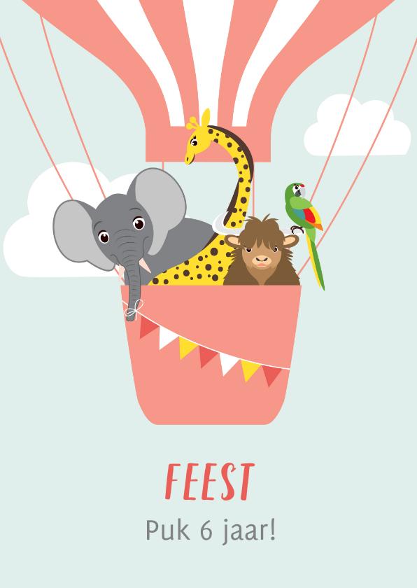 Kinderfeestjes - Uitnodiging kinderfeestje met dieren in een luchtballon