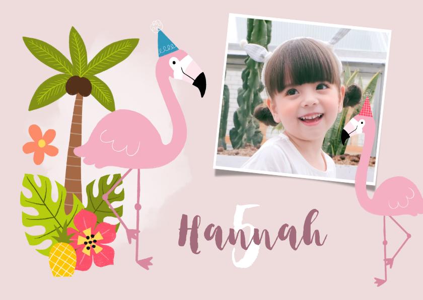 Kinderfeestjes - Uitnodiging kinderfeestje met flamingo's en tropisch thema