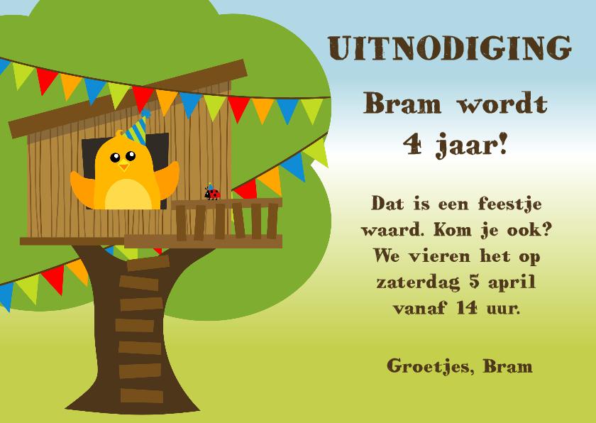 Kinderfeestjes - Uitnodiging kinderfeestje met oranje vogeltje in boomhut