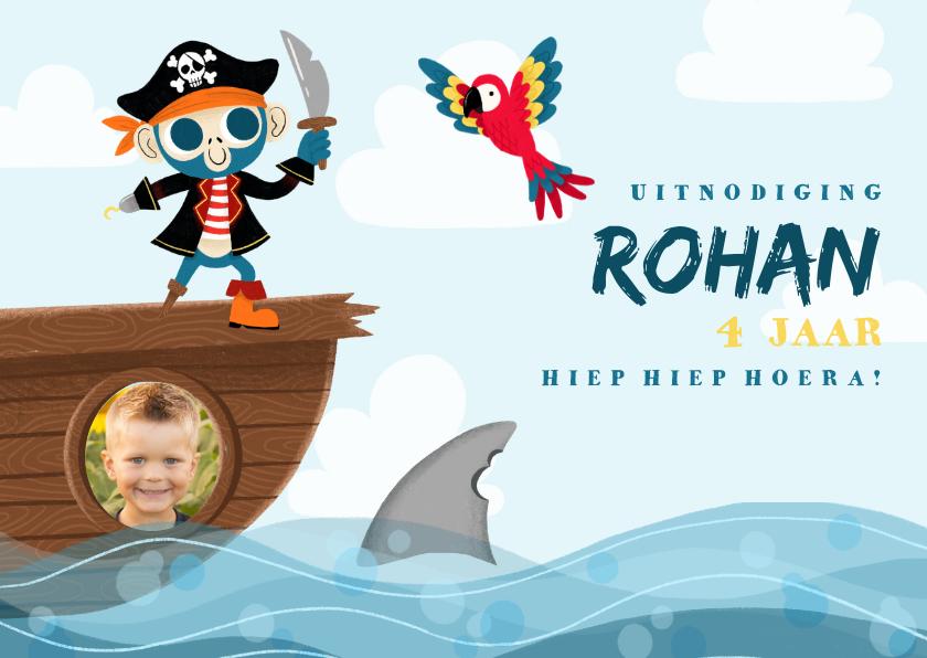 Kinderfeestjes - Uitnodiging kinderfeestje met piraten aap, papegaai en haai