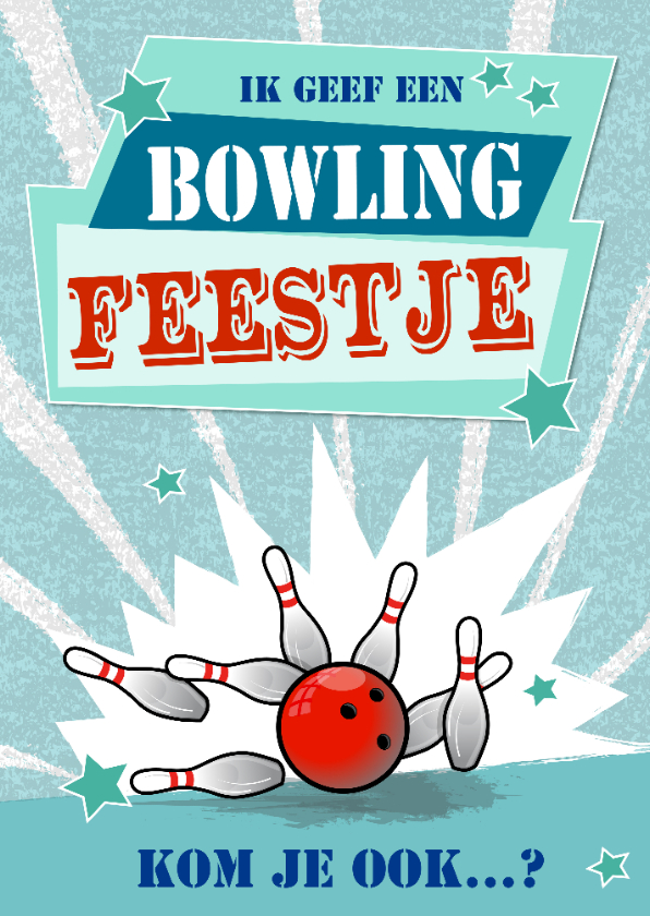 Kinderfeestjes - uitnodiging kinderfeestje met thema bowlen