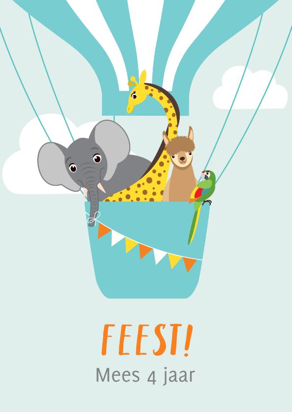 Kinderfeestjes - Uitnodiging kinderfeestje met vrolijke diertjes in ballon