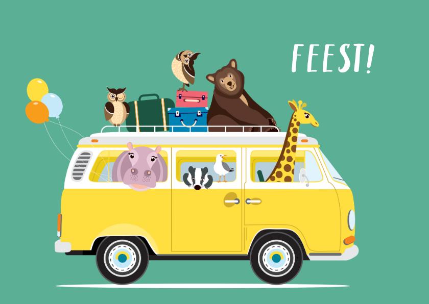 Kinderfeestjes - Uitnodiging kinderfeestje met vw busje vol dieren