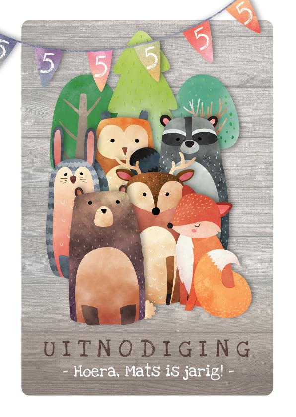 Kinderfeestjes - Uitnodiging kinderfeestje naar het bos met dieren