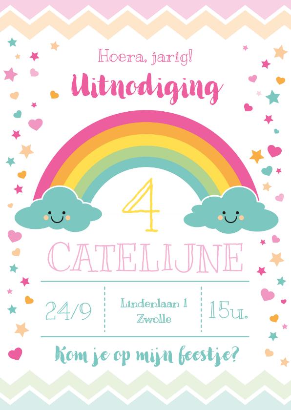 Kinderfeestjes - Uitnodiging kinderfeestje regenboog & wolkjes