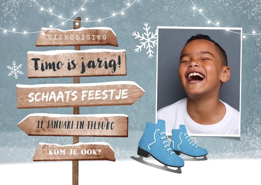 Kinderfeestjes - Uitnodiging kinderfeestje schaatsen wegwijzers foto