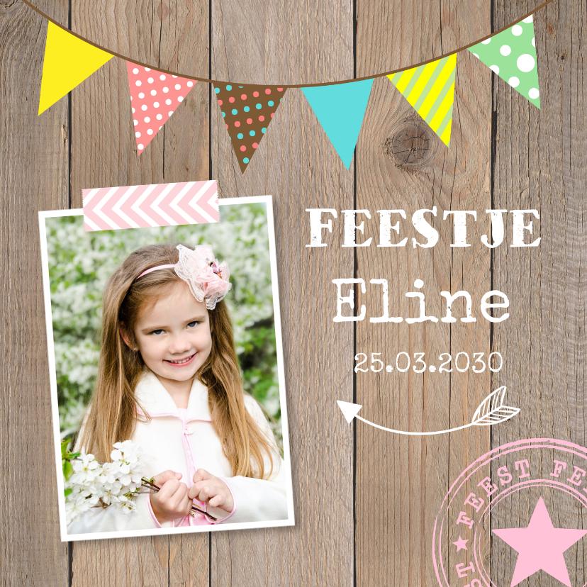 Kinderfeestjes - Uitnodiging kinderfeestje slinger kleur hout meisje