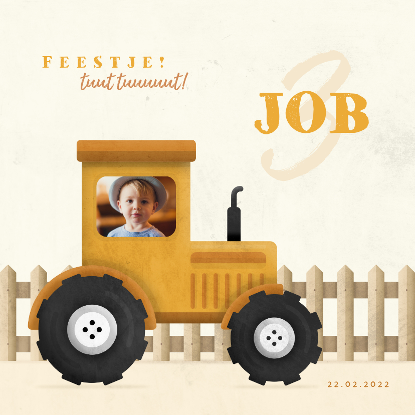 Kinderfeestjes - Uitnodiging kinderfeestje tractor met foto en hekje