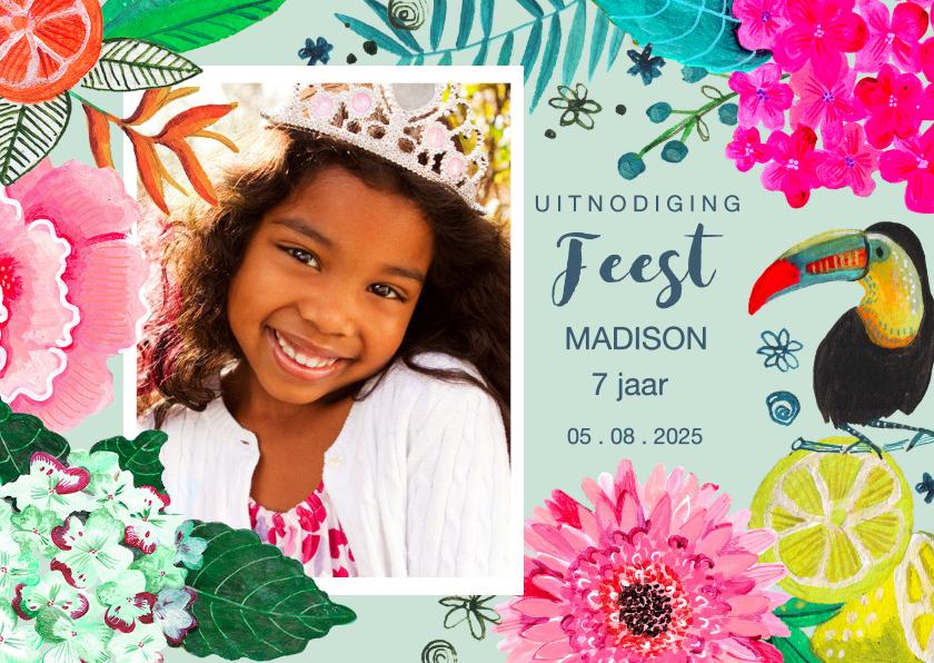 Kinderfeestjes - Uitnodiging Kinderfeestje Tropische Bloemen