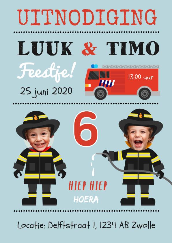 Kinderfeestjes - Uitnodiging kinderfeestje tweeling brandweer